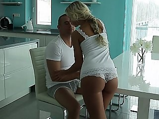 Horny young European blondie