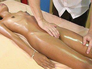 Bony uber-cute female Kitti enjoys lubricated massage