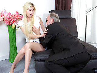 Super-cute youthful blondie has a thing for elderly men